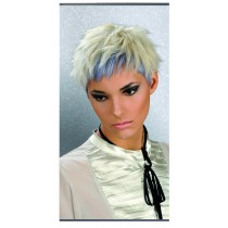 Trend Design silver Metall Banner Frau blond mit blau
